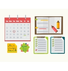Calendar with note notebook plan vector