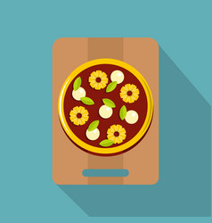 Pizza with ingredients on the wooden board icon vector