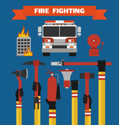 Fire fighting design concept flat vector