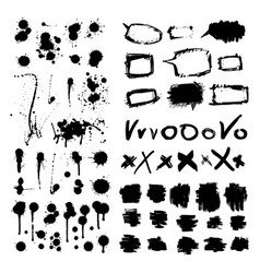 Ink drops grunge paint design element set vector