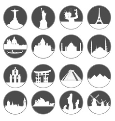 Gray button famous places vector