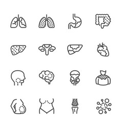 Cancer medical and healthcare icons set line vector