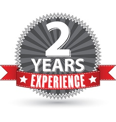2 years experience retro label with red ribbon vector image vector image