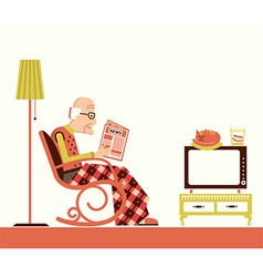Old man sitting and reading newspaper vector