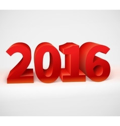 New year 2016 shiny 3d red vector