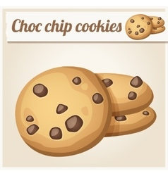 Choc chip cookies detailed icon vector