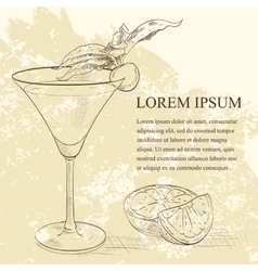 Alcoholic cocktail golden dream scetch vector
