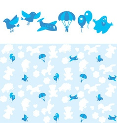 Blue kid pattern vector