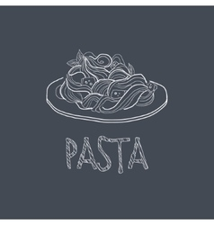 Pasta Sketch Style Chalk On Blackboard Menu Item vector image