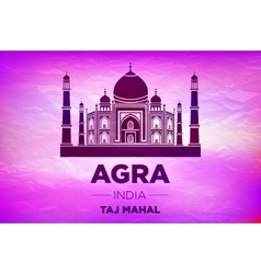 Taj mahal in ight on pink sunrise vector