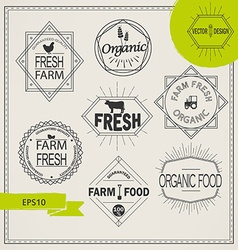 Agriculture and organic farm logos vector