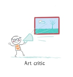 Art critic yells at the big picture vector