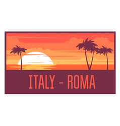 beach with palm trees and sea - italy rest concept vector image vector image