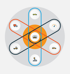 Car colorful outline icons set collection of van vector