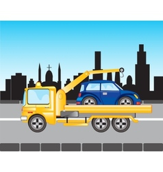 Car to evacuations in city vector image