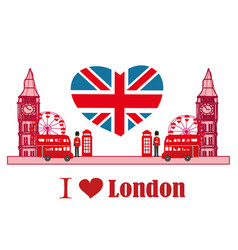 Card with icons of london vector