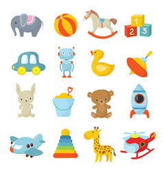 cartoon children toys icons collection vector image vector image