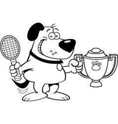 Cartoon dog holding a trophy vector image