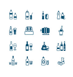 drink bottles icons - micro series vector image vector image