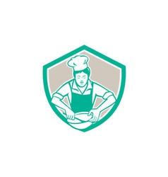 Female chef mixing bowl shield retro vector