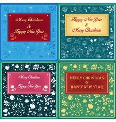 Floral greeting christmas cards vector