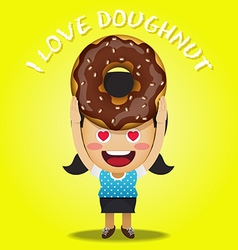 Happy woman carrying big chocolate doughnut vector