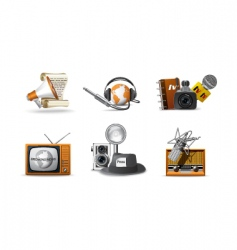 journalist and press icons vector image