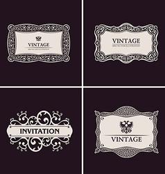 Label frames elegant border set vintage banner vector