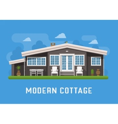 Modern cottage on rural background vector