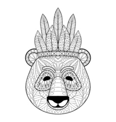 Panda with warbonnet in zentangle style freehand vector