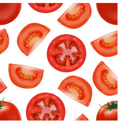 realistic detailed red tomato and segment parts vector image vector image