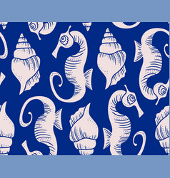 Seahorse and conch shell pattern vector