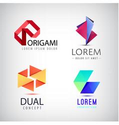 set of abstract colorful ribbon logos vector image vector image