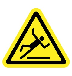 slippery yellow sign vector image vector image
