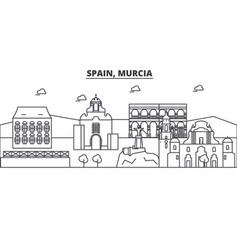 Spain murcia architecture line skyline vector