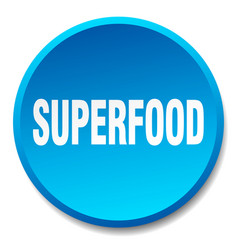 Superfood blue round flat isolated push button vector