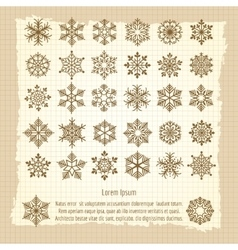Vintage background with snowflakes set vector image vector image