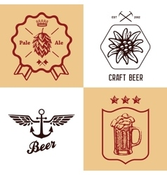 vintage craft beer bottles brewery label sign set vector image vector image
