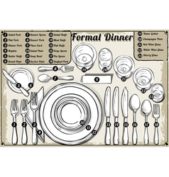 Vintage hand drawn place setting formal dinner vector