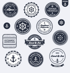 Vintage nautical labels vector