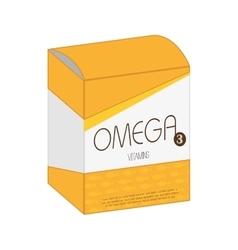 Omega vitamin pill box medicine icon vector