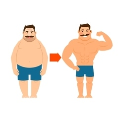 Fat and slim man with mustache vector