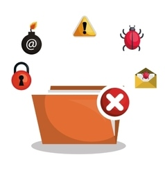 Folder file virus alert graphic vector