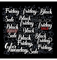 Black friday lettering set vector