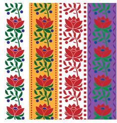Czech folk seamless pattern fabric jacquard ribbon vector