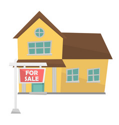 House with placard for sale vector