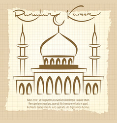 Ramadan kareem vintage poster with mosque vector