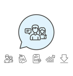 People talking line icon conversation sign vector