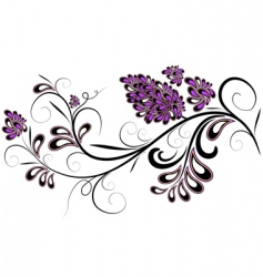 Decorative branch with lilac flowers vector