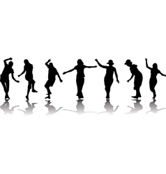 silhouettes of active people vector image